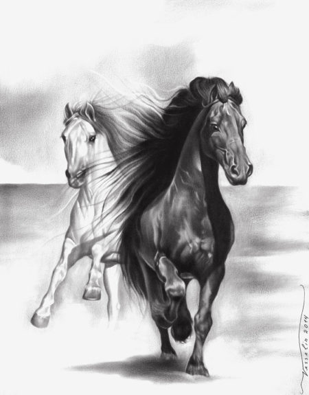 A black and white oil painting of horses. The painting represents two beautiful running horses. One of them is black and the other one is white.