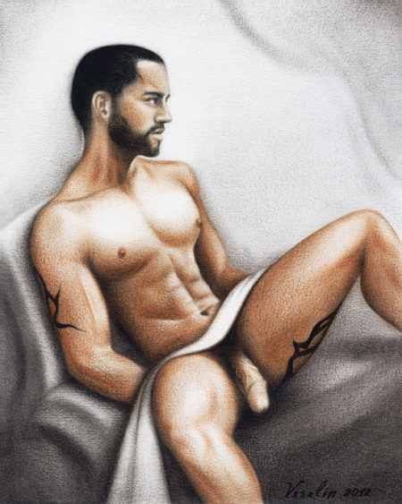 A colored erotic male nude oil painting. The painting represents a black-haired bearded naked man sitting on a sofa. The man has tattoos on the right arm and on the left thigh. There is a white towel in front of his waist.