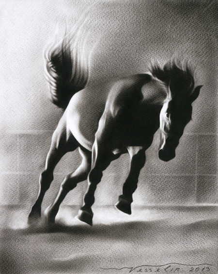 A black and white oil painting of a horse. The painting represents a beautiful wild black horse.