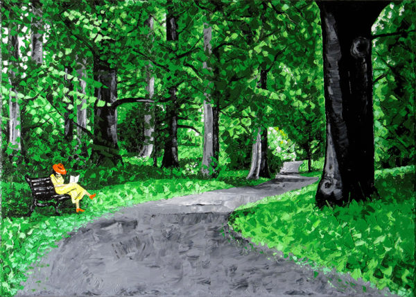 A colored landscape oil painting on a stretched canvas representing a green forest, a grey path in the middle and a woman reading a book sitting on a bench next to the path.