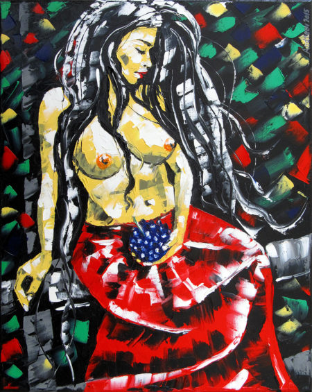 A colored erotic female nude oil painting. The painting represents a beautiful naked to the middle woman holding a bunch of blue grapes. The woman wears a full red skirt.