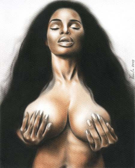 A colored erotic female nude oil painting. The painting represents a passionate black-haired naked woman with closed eyes and hands on the breast.