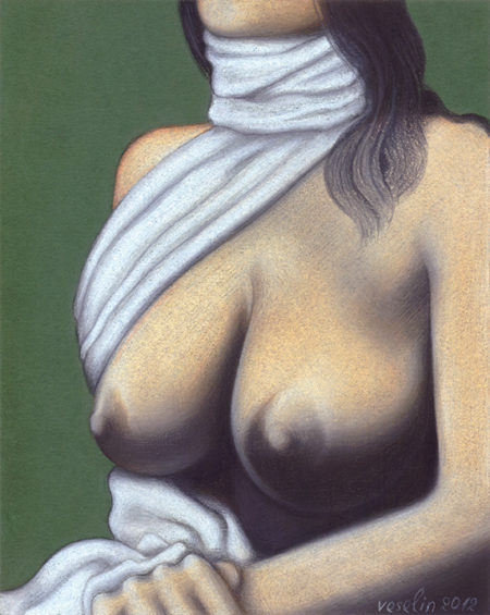 A colored erotic female nude pastel drawing. The drawing represents a topless black-haired woman sitting with hands folded. The lady wears a white scarf but only a little part of her face is visible.