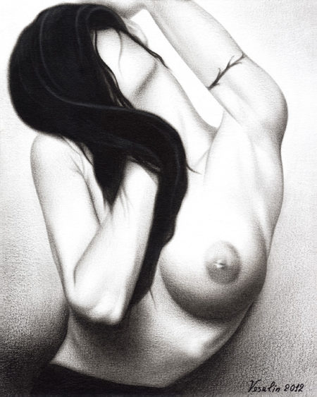 A black and white oil painting of a woman. The painting represents a half-length portrait of a passionate long-haired nude woman. Most of the woman's face is covered by the hair and the right breast is hidden by the right hand. There is a tattoo on the left hand.