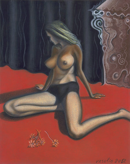 A colored erotic female nude pastel drawing. The drawing represents a beautiful long-haired topless woman sitting on a red carpet. There are some flowers in front of her. There is also a black curtain behind the lady.