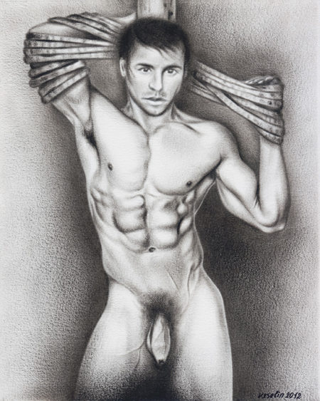 A black and white oil painting of a man. The painting represents a full-length portrait of a muscular nude man tied with a rope to a wooden post placed behind him.