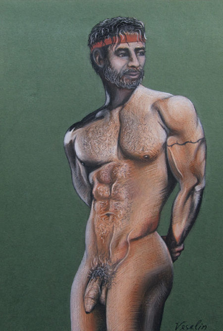 A colored erotic male pastel drawing. The drawing represents a full-length portrait of a muscular nude man with a grey hair and beard. The man is standing against a dark green background. He is looking back with hands clasped behind back. The man wears a red headband and has a tattoo on the left biceps as well.