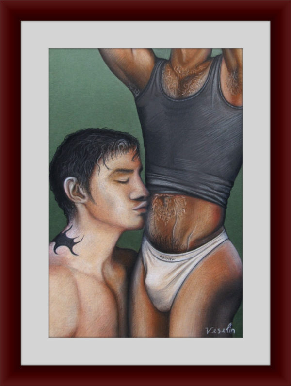 A framed colored erotic male pastel drawing. The drawing represents two fallen in love men. The naked man is kissing the other one on the stomach. The head of the kissed man is not visible and he is in underwear as well. The naked man has a tattoo on the neck.