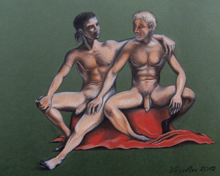 A colored erotic male pastel pencil drawing. The drawing represents two nude men. They are talking each other, sitting on a chest covered with a red blanket. The man on the left has hugged the man on the right.