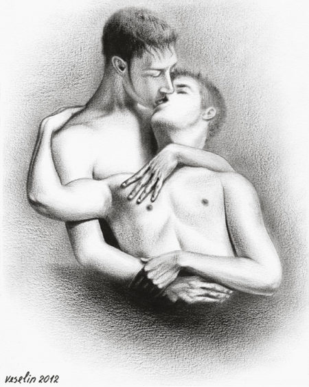 A black and white oil painting of men. The painting represents a half-length portrait of two fallen in love nude men. They are kissing and hugging each other.