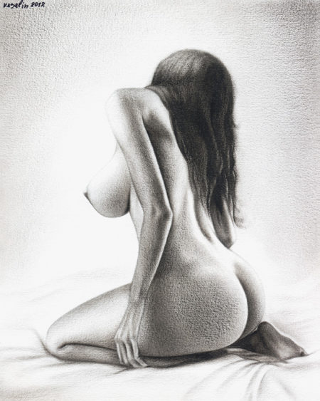 A black and white oil painting of a woman. The painting represents a beautiful kneeling nude woman with a back turned. The woman's hair comes down to the waist.