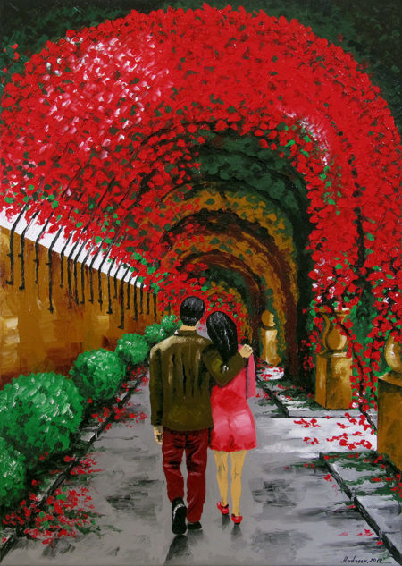 A colored landscape oil painting on a stretched canvas representing a grey path on which a fallen in love couple walk. There are red, brown and green flowers around them. It's a romantic picture.