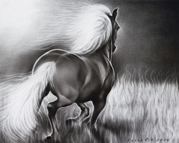A black and white oil painting of horse. The painting represents a beautiful wild horse running in the fields. It has a big white mane and a tail.